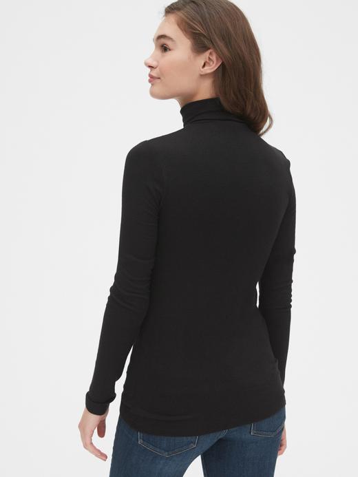 Kadın Siyah Fitilli Balıkçı Yaka Uzun Kollu T-Shirt