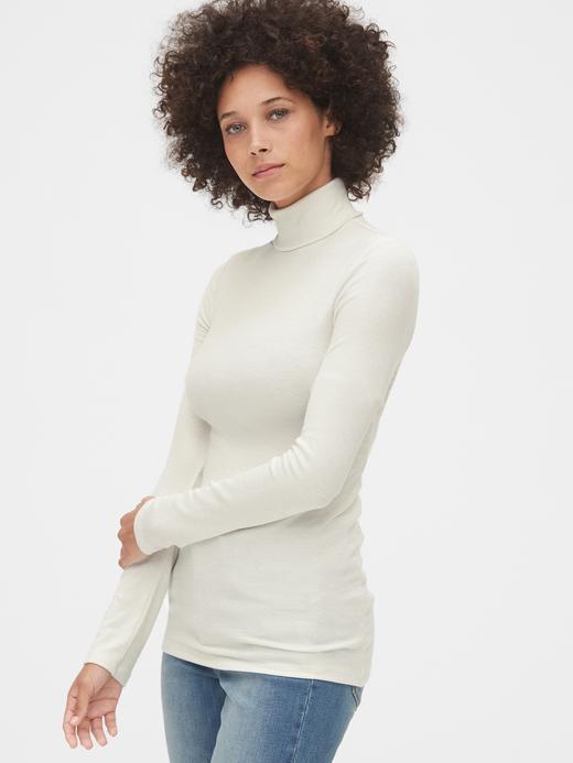 Kadın Beyaz Fitilli Balıkçı Yaka Uzun Kollu T-Shirt