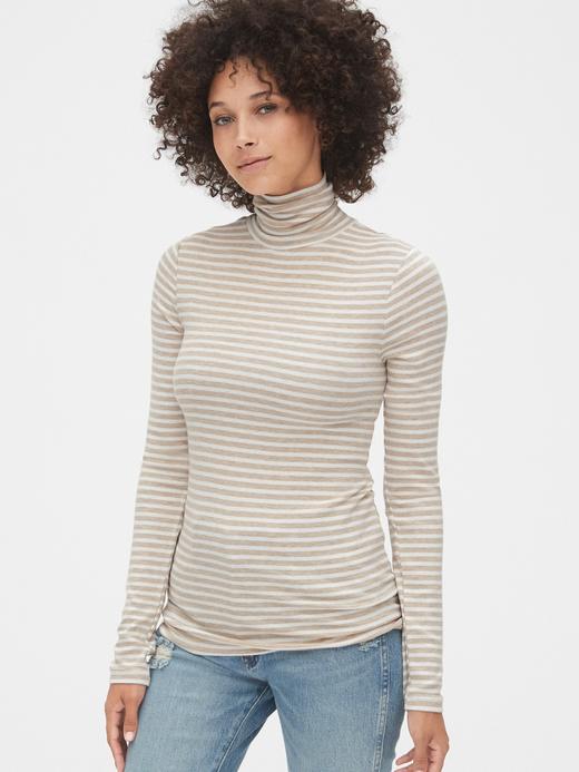 Kadın Bej Çizgili Boğazlı Uzun Kollu T-Shirt