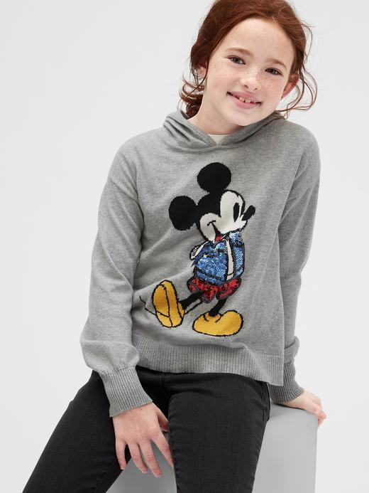 Kız Çocuk Gri Disney Mickey Mouse Kapüşonlu Kazak