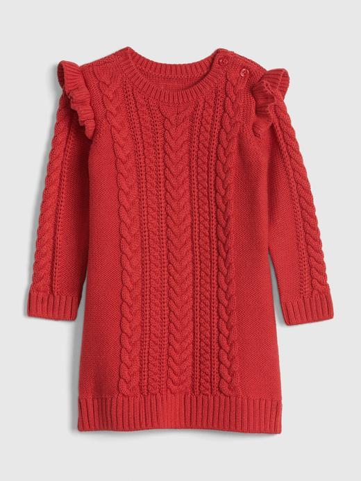 Kız Bebek Kırmızı Fırfırlı Kazak Elbise