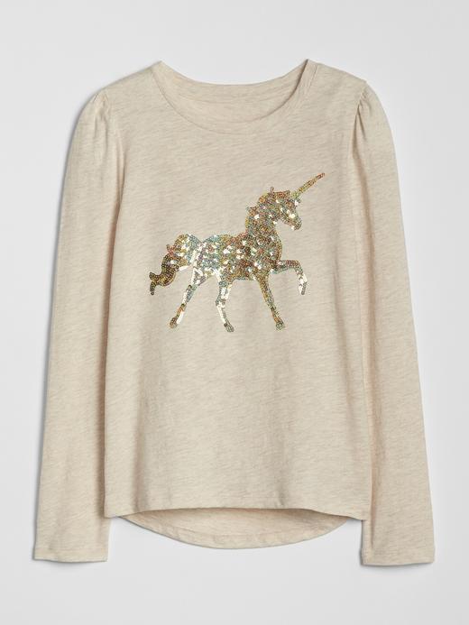 Kız Çocuk Bej Omuzları Büzgülü Pullu Grafik T-Shirt