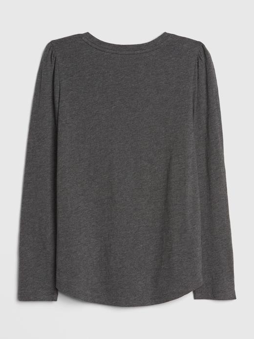 Kız Çocuk Gri Omuzları Büzgülü Pullu Grafik T-Shirt