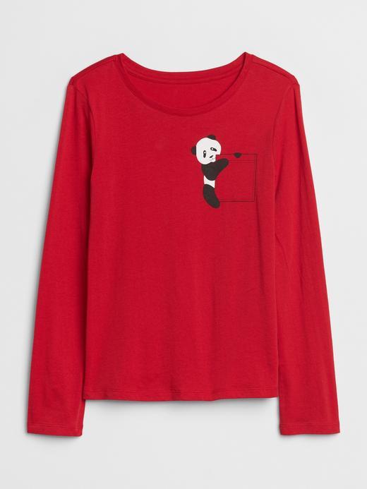 Kız Çocuk Kırmızı Grafik Uzun Kollu T-Shirt