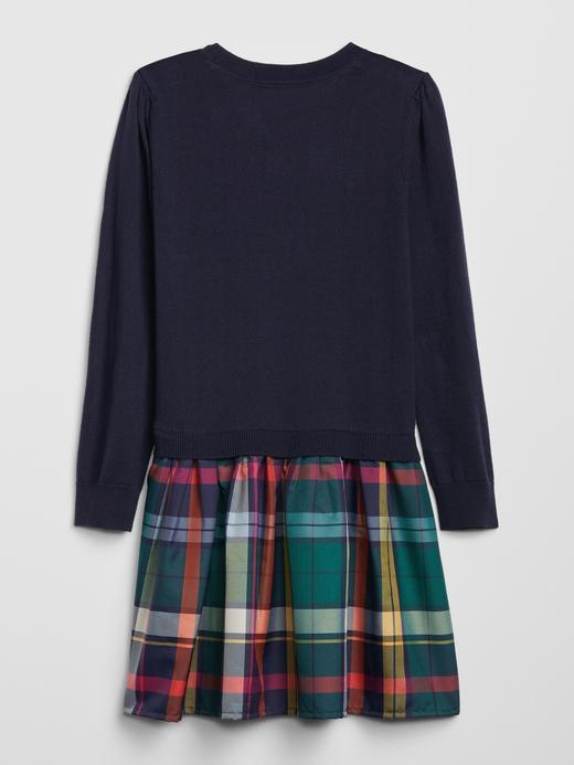 Kız Çocuk Lacivert Ekose Elbise