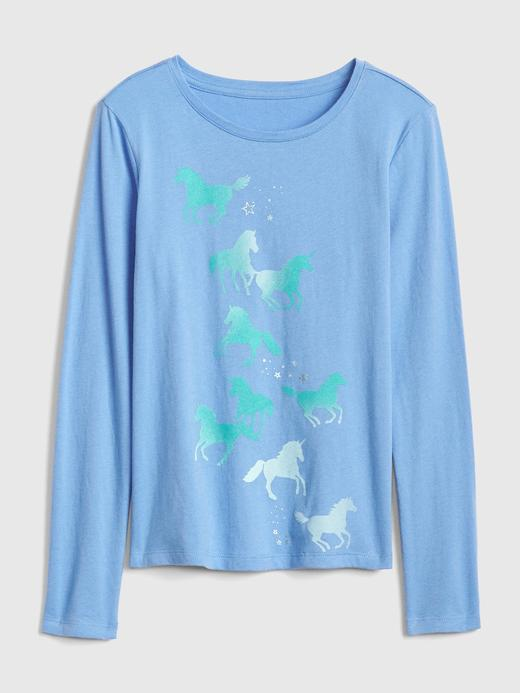 Kız Çocuk Mavi Grafik Uzun Kollu T-Shirt