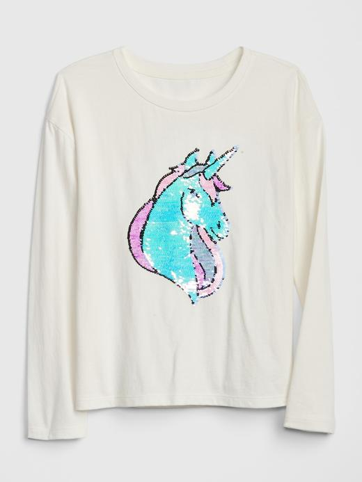 Kız Çocuk Bej Grafik Pullu İşlemeli Uzun Kollu T-Shirt