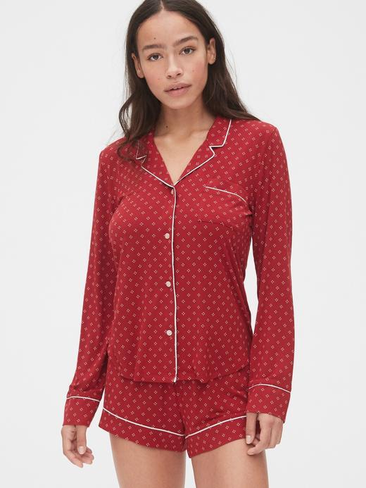 Kadın Kırmızı Desenli Pijama Üstü