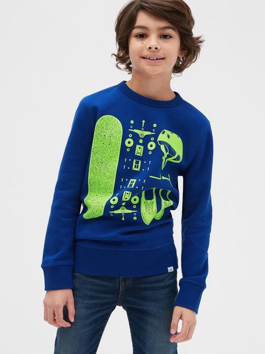 Erkek Çocuk Turuncu Grafik Yuvarlak Yaka Sweatshirt