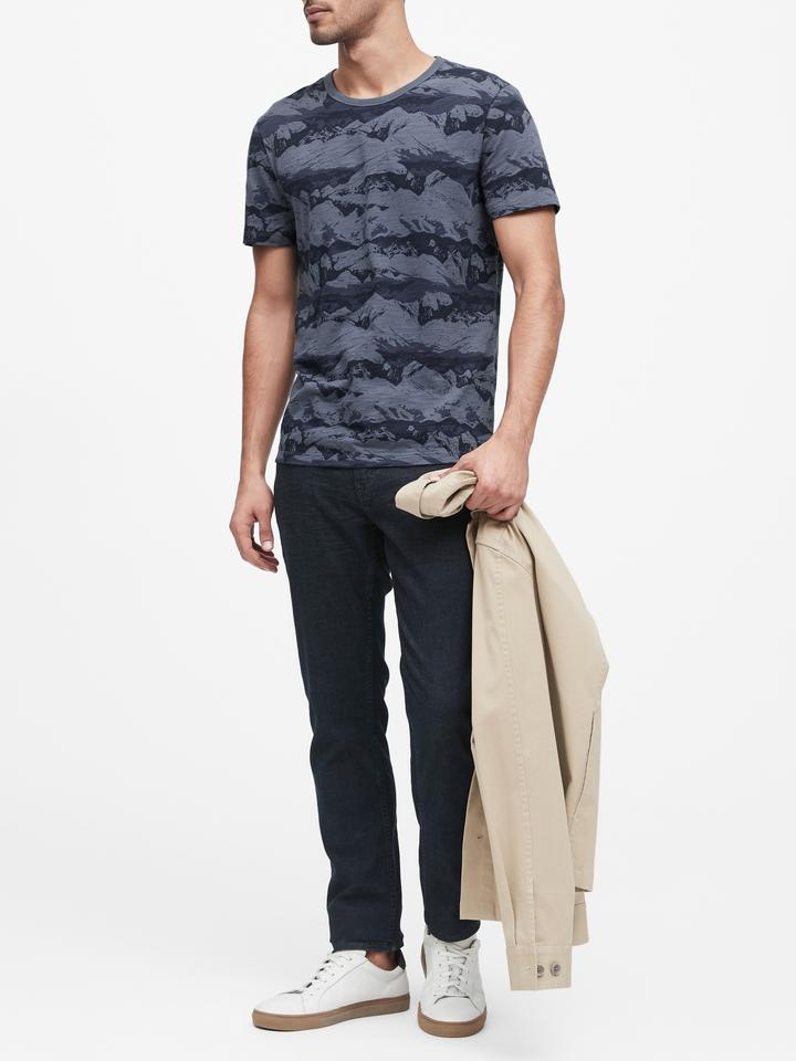 Erkek Mavi Desenli Kısa Kollu T-Shirt