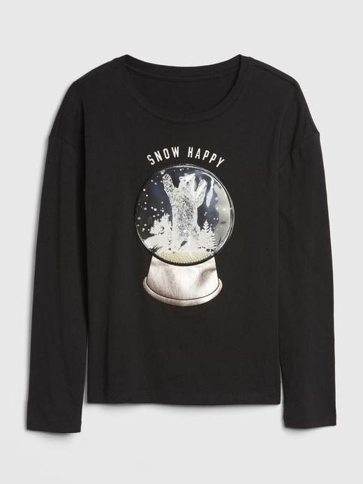 Kız Çocuk Siyah İnteraktif Grafik T-Shirt
