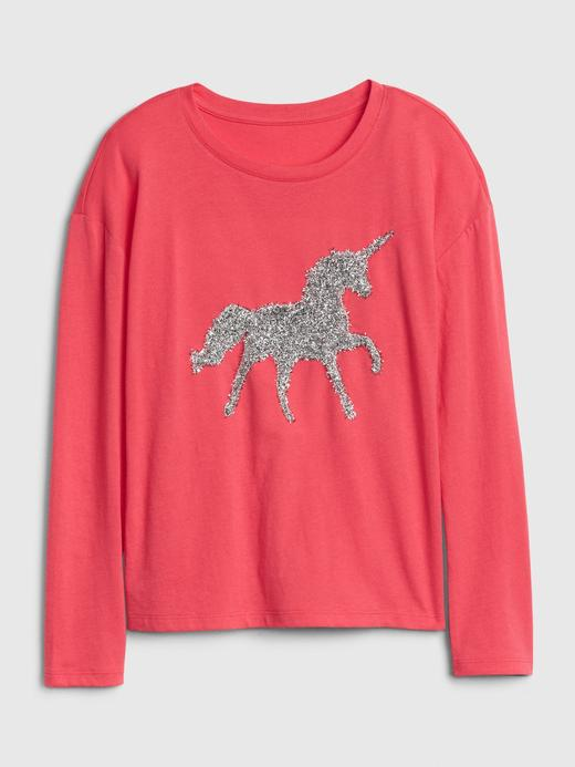 Kız Çocuk Pembe İnteraktif Grafik T-Shirt