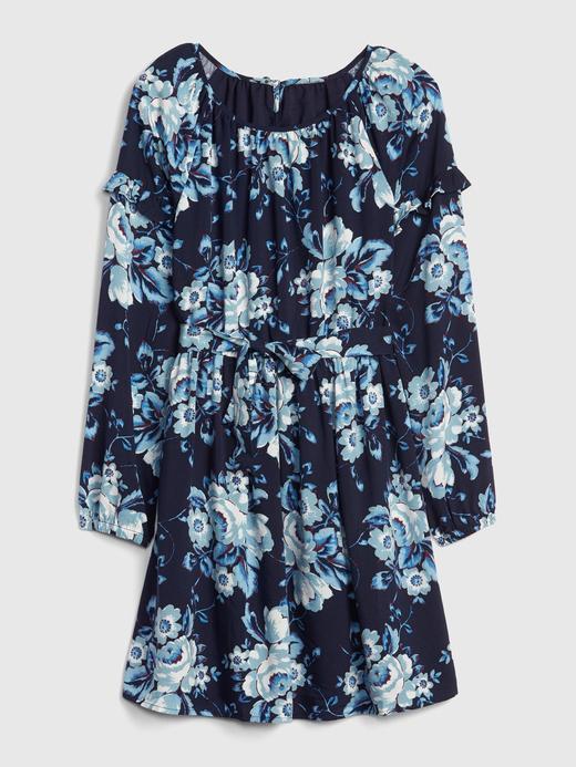 Kız Çocuk Lacivert Çiçek Desenli Elbise