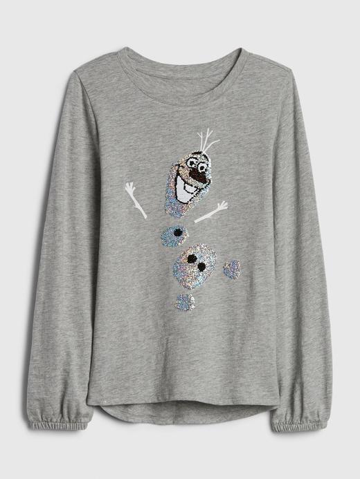 Kız Çocuk Bej Disney Frozen Pullu T-Shirt