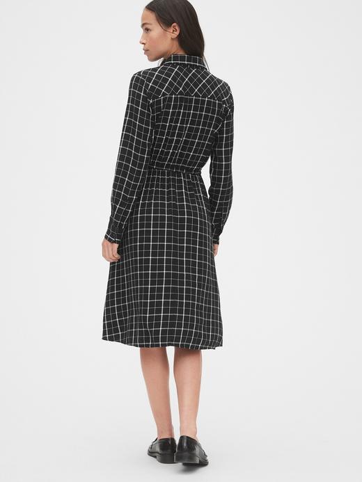 Kadın Siyah Ekose Beli Bağcıklı Gömlek Elbise