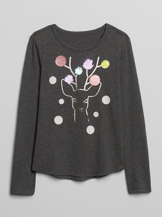 Kız Çocuk Gri Pullu Grafik Uzun Kollu T-Shirt