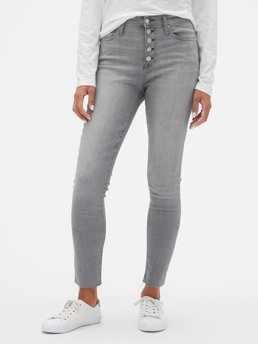 Kadın Gri Yüksek Belli Legging Pantolon