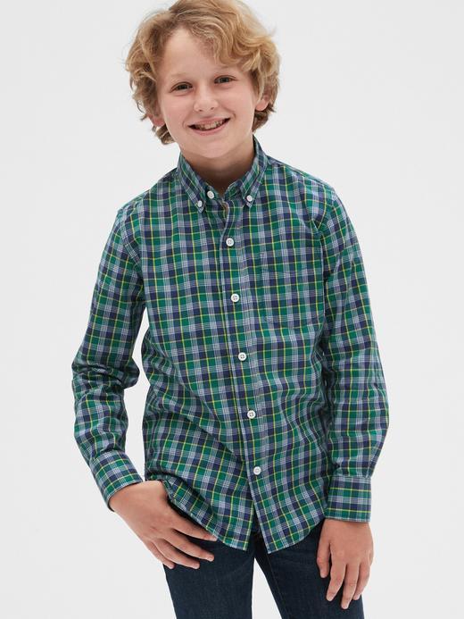 Erkek Çocuk Mavi Ekose Poplin Gömlek