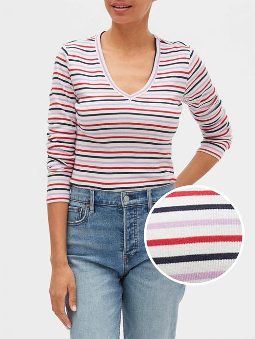 Kadın Çok Renkli Çizgili V yaka Uzun Kollu T-shirt