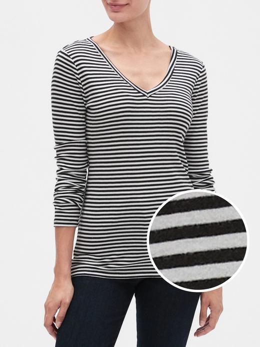 Kadın Siyah Çizgili V yaka Uzun Kollu T-shirt