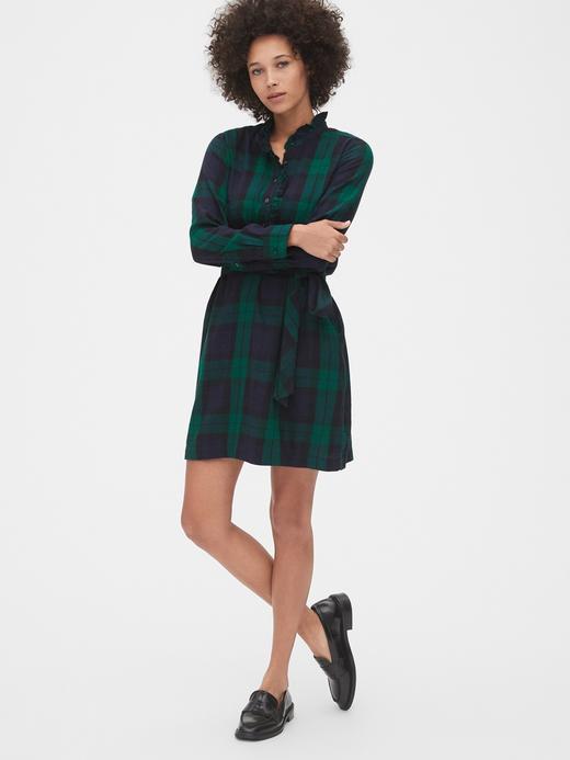 Kadın Lacivert Ekose Fırfır Yakalı Gömlek Elbise