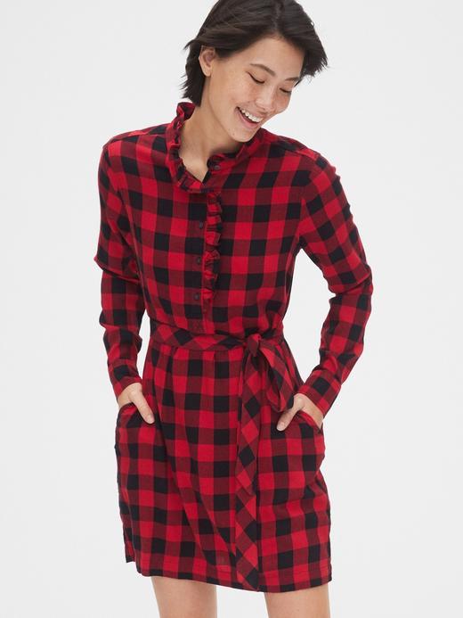 Kadın Kırmızı Ekose Fırfır Yakalı Gömlek Elbise