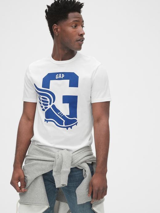 Erkek Kırmızı Gap Logo Athletic Sıfır Yaka T-Shirt
