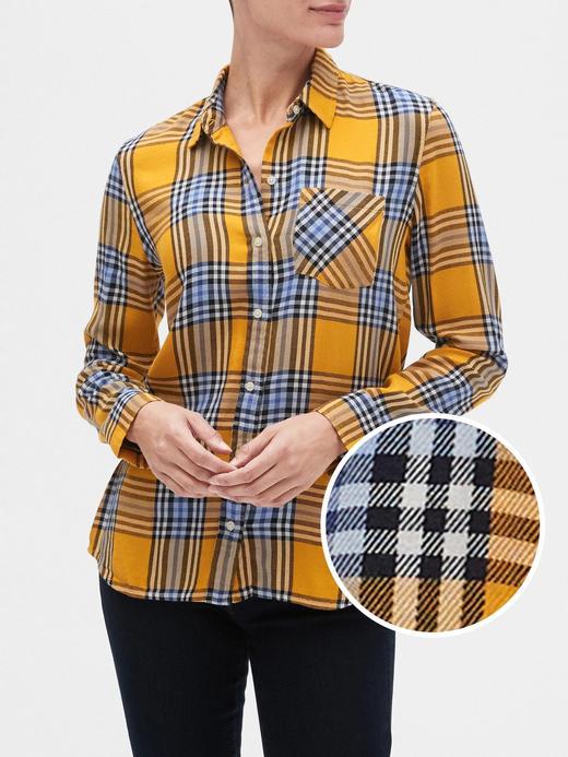 Kadın Sarı Kareli Gömlek