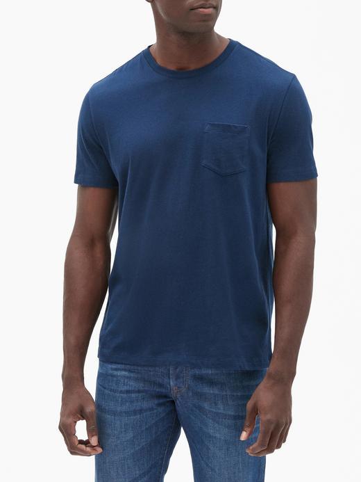 Erkek Lacivert Sıfır Yaka Cepli T-Shirt
