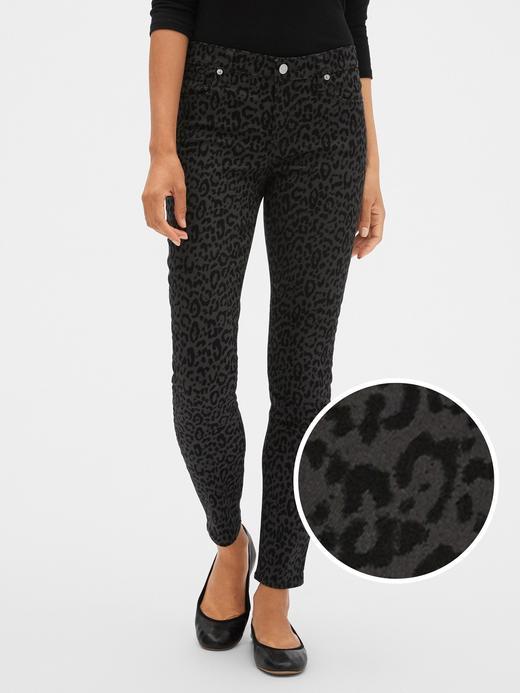 Kadın Siyah Orta Belli Leopar Desenli Legging Jean Pantolon