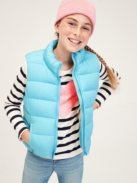 Kız Çocuk mavi Çocuk Sherpa Puffa Mont