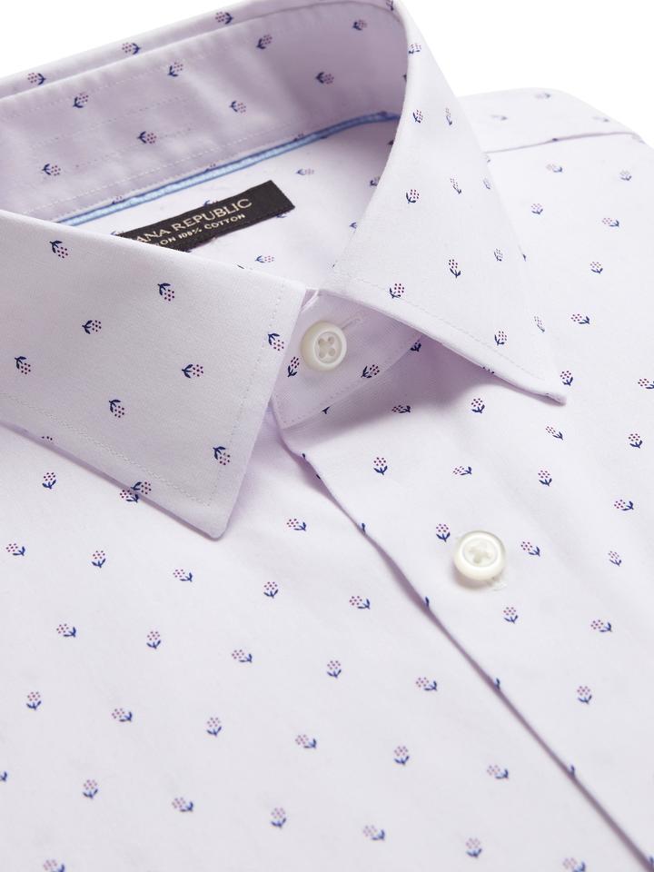 Erkek Mor Grant Slim-Fit Ütü Gerektirmeyen Gömlek