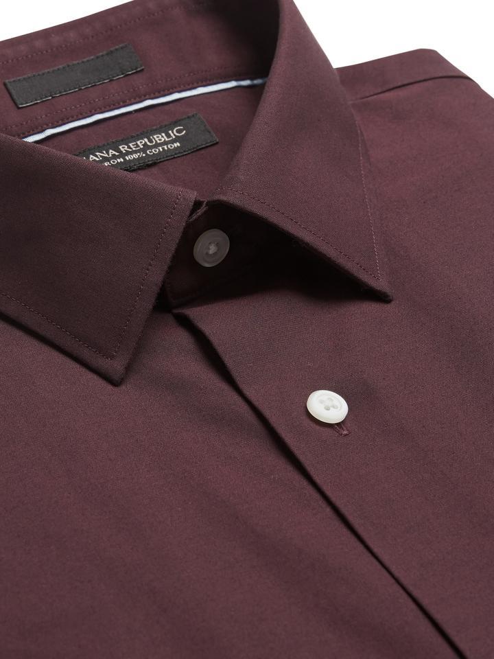 Erkek Kırmızı Grant Slim-Fit Ütü Gerektirmeyen Gömlek