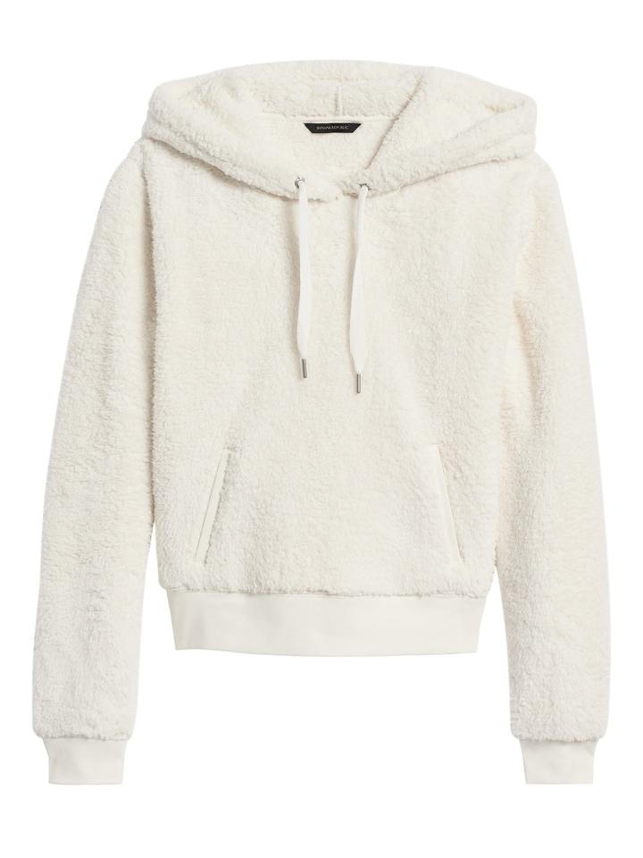 Cropped Sherpa Polar Kapüşonlu Sweatshirt