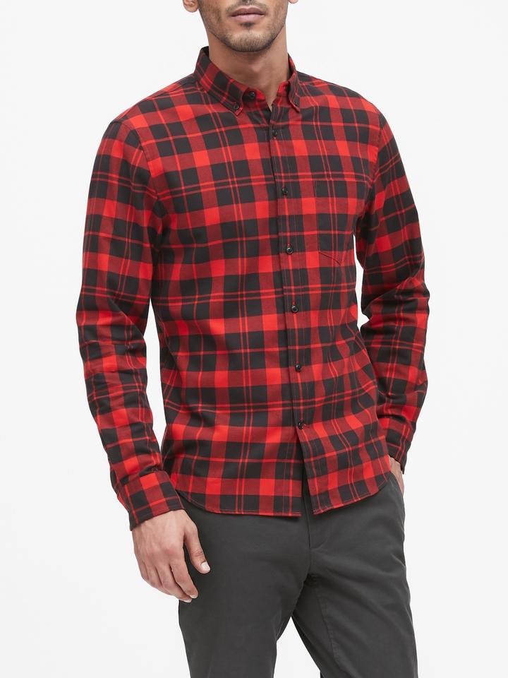 Erkek Kırmızı Slim-Fit Flannel Gömlek