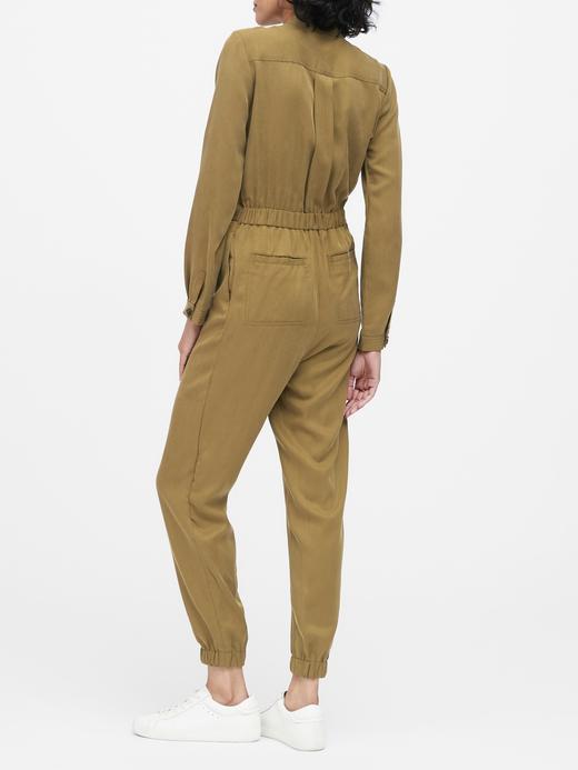 Kadın Yeşil TENCEL™  Uzun Kollu Tulum