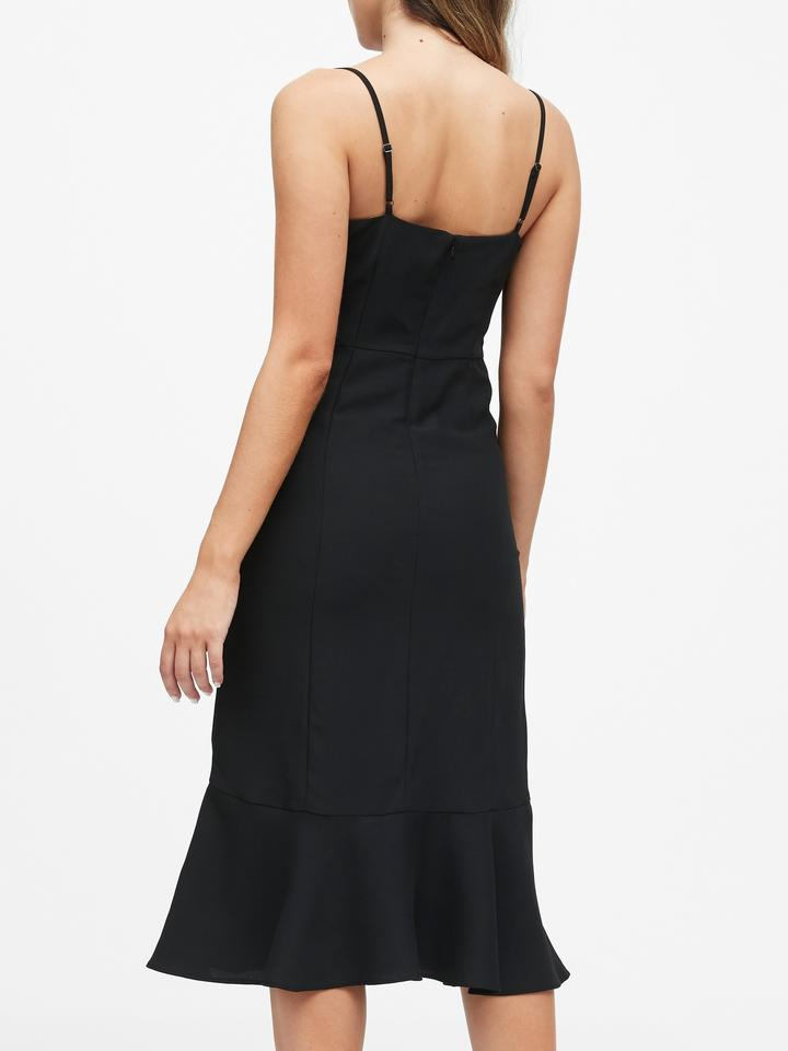 Kadın Siyah Balık Model Midi Elbise