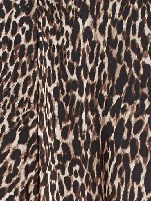 Kadın Kahverengi Leopar Desenli Maxi Etek