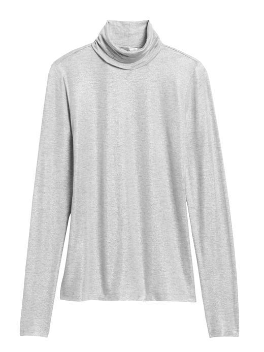 Kadın Gri Metalik Streç Balıkçı Yaka T-Shirt