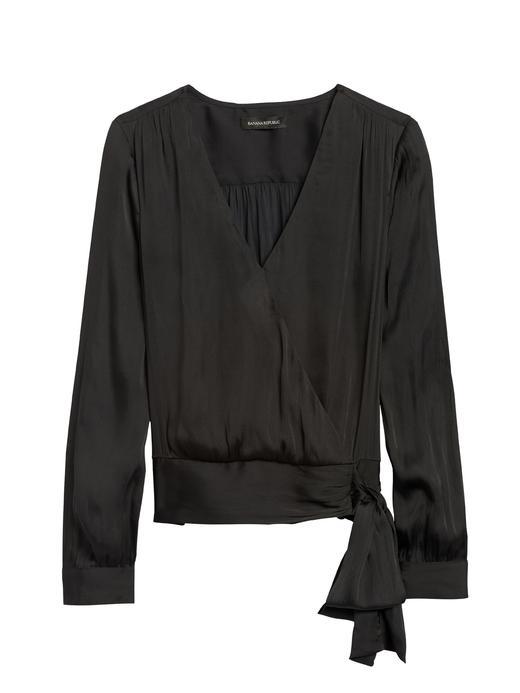 Kadın Siyah Yumuşak Saten Uzun Kollu Bluz