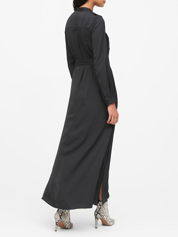 Kadın Siyah Utility Maxi Gömlek Elbise
