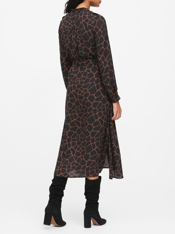 Kadın Siyah Desenli Maxi Gömlek Elbise