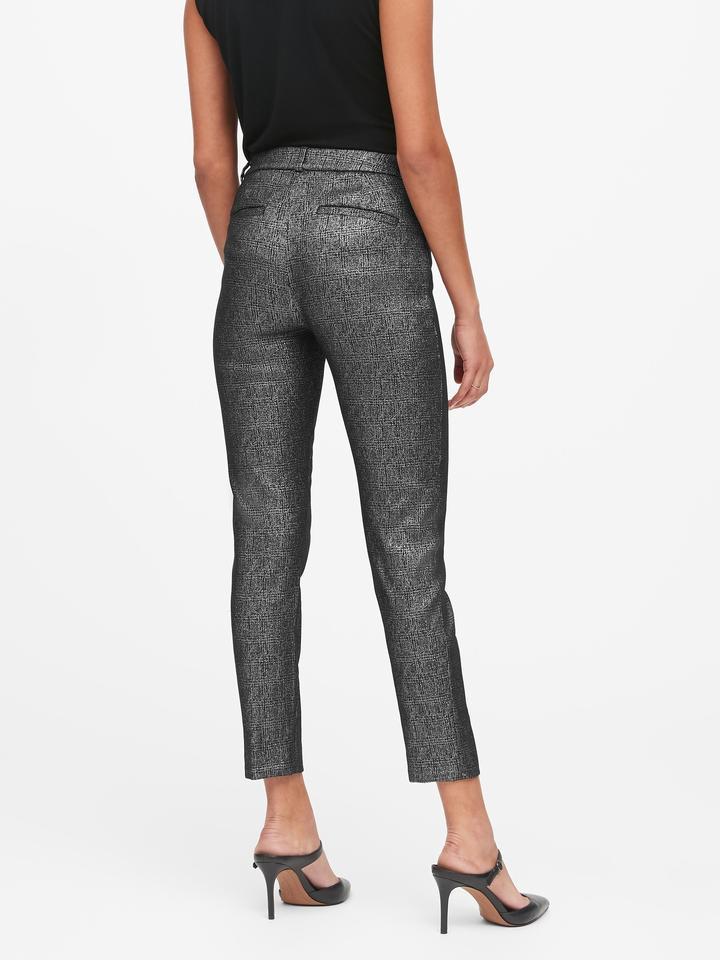Kadın Kahverengi Modern Sloan Skinny-Fit Metalik Pantolon