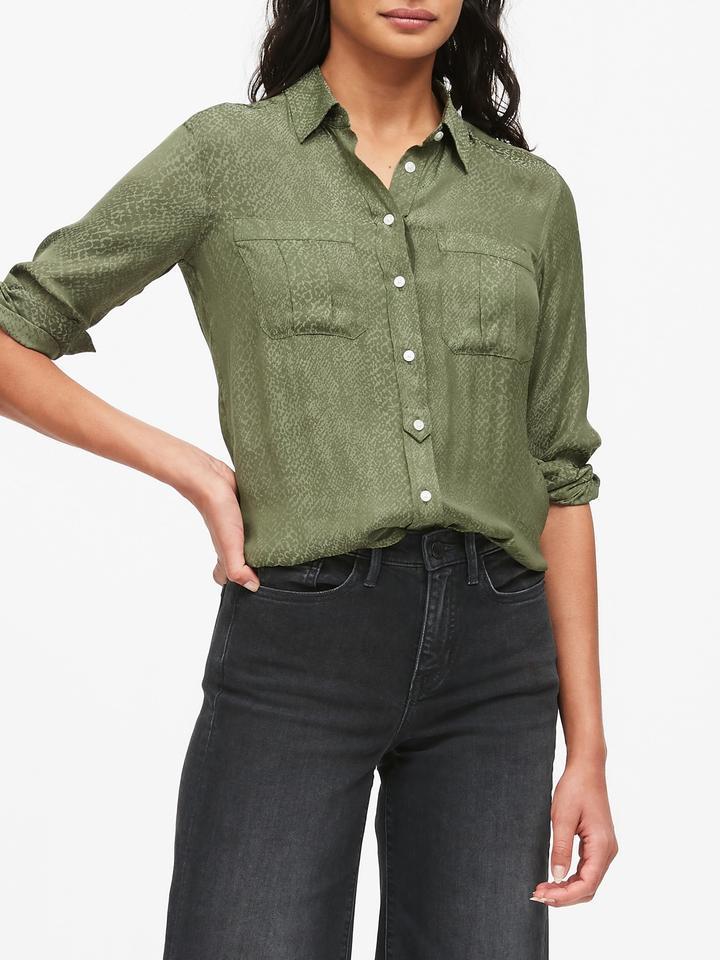 Kadın Yeşil Dillon Classic-Fit Desenli Gömlek