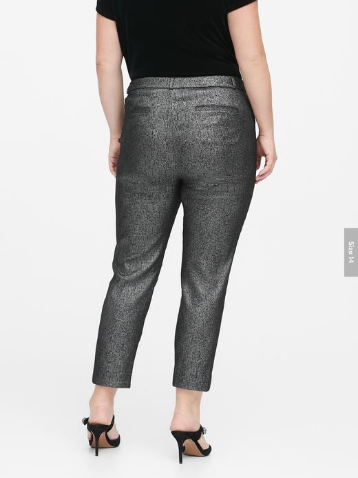 Kadın Gri Modern Sloan Skinny-Fit Metalik Pantolon