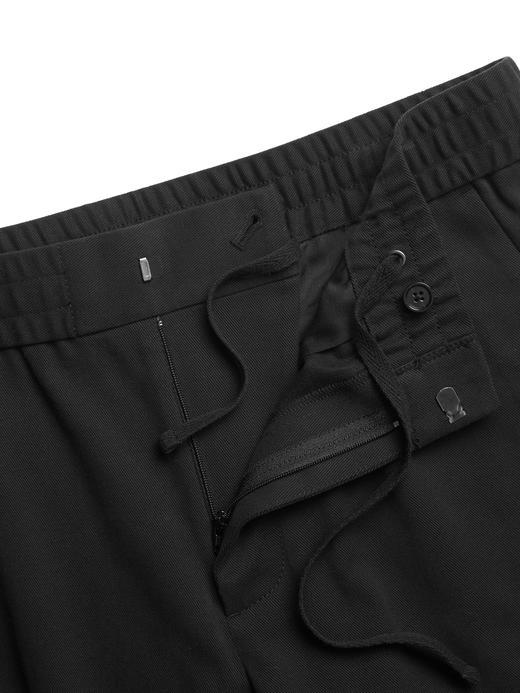 Erkek Siyah Slim Tapered Italian Twill Pantolon