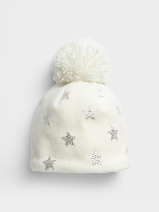 Bebek Beyaz Metalik Yıldızlı Ponponlu Bere