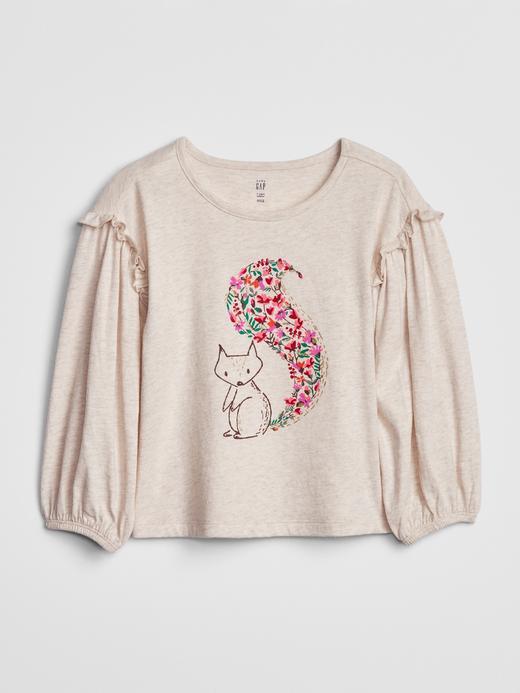 Kız Bebek Bej Baskılı Fırfır Kollu T-Shirt