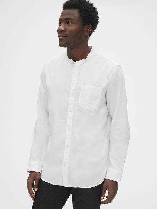 Erkek Beyaz Dokulu Yakasız Gömlek