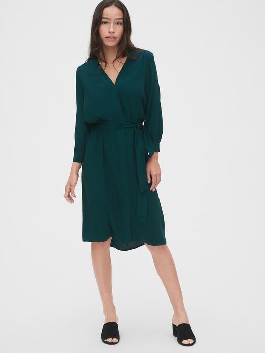 Kadın Yeşil V Yaka Midi Gömlek Elbise